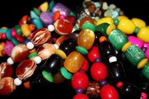 A colourful selection of plastic beads from Kenya