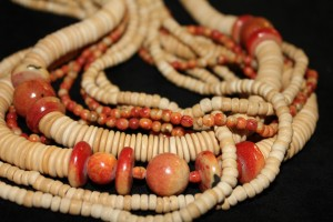 Beautiful necklace made up from wooden disks, coloured beads and seeds Unknow origin