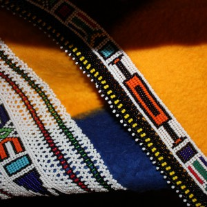 Deatils from Ndebele beadwork on a shawl or blanket typically used by the married women in the tribe