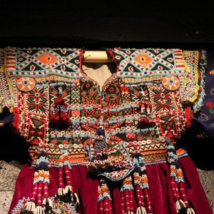 Details from a richly beaded decorated Kuchi dress from Afghanistan