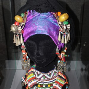 Earings and beaded adornment for the hair from a berber tribe in Morocco