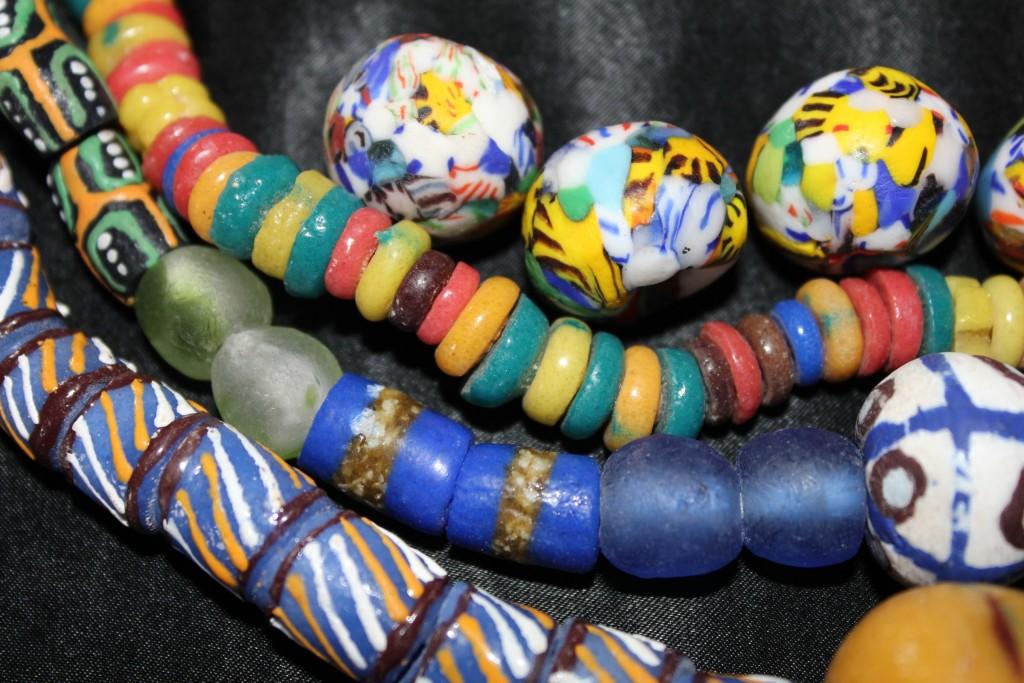 Krobo beads Tsakati beads, colored disk beads, Gige beads, Mue ne Angma and in the lower right corner; Bodom bead