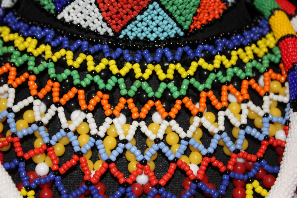 Modern design of the Zulu necklaces used today, some with the large plastic beads The technique is still the same as decades ago