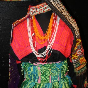 The Kalasha women from Pakistan use black dresses with colourful embroidery as well as beaded necklaces and the special headdresses