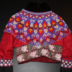 The jacket used by women from Greenland in their national costume The young girls use very light bright colours like pink and pas