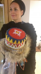 A fur cap from the eatern Sami people in Russia with bead decortaions