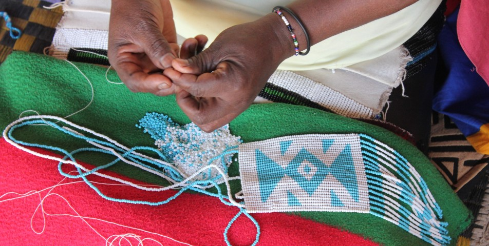Xhosa beadwork making